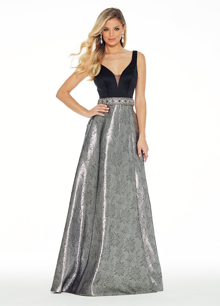 Ashley Lauren Pewter Evening Dress with Beaded Belt Image