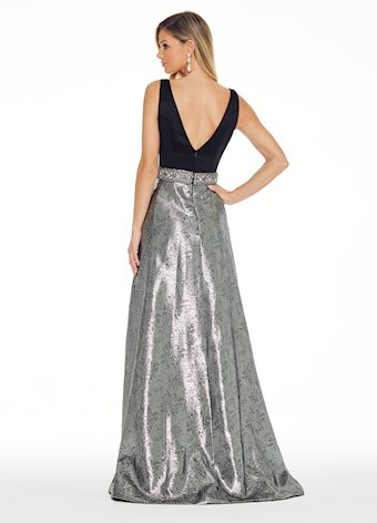 Ashley Lauren Pewter Evening Dress with Beaded Belt