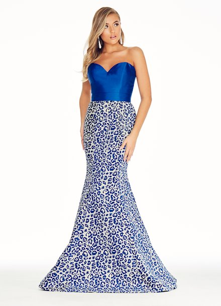 Ashley Lauren Royal Leopard Print Brocade Evening Dress