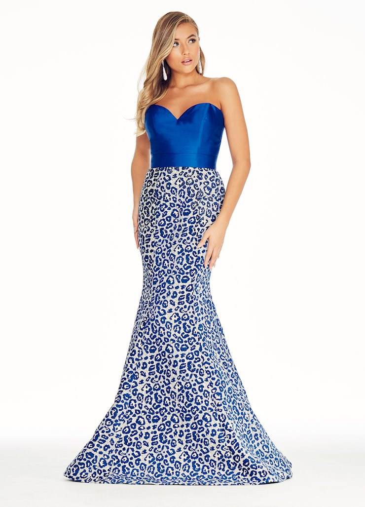 Ashley Lauren Royal Leopard Print Brocade Evening Dress Image