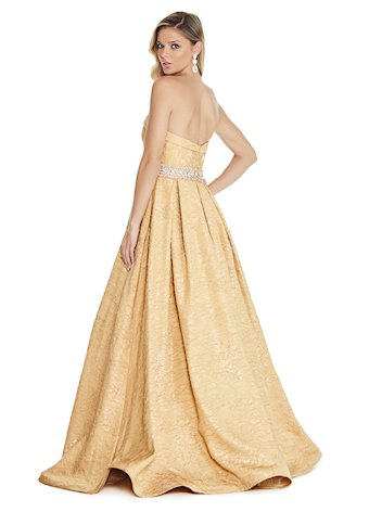 Ashley Lauren Brocade Ball Gown with Beaded Belt