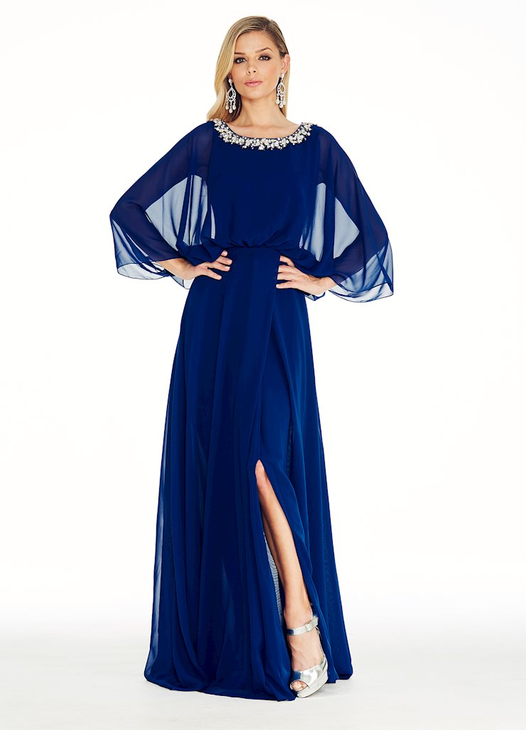 Ashley Lauren Royal Flutter Sleeve Evening Dress Image