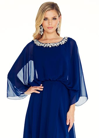 Ashley Lauren Royal Flutter Sleeve Evening Dress