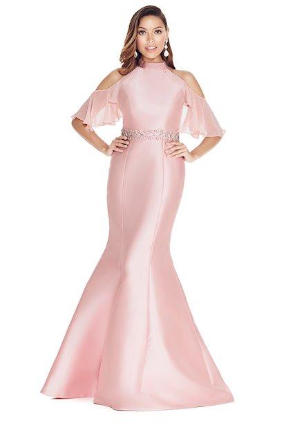 Ashley Lauren Flutter Sleeve Mikado Evening Dress