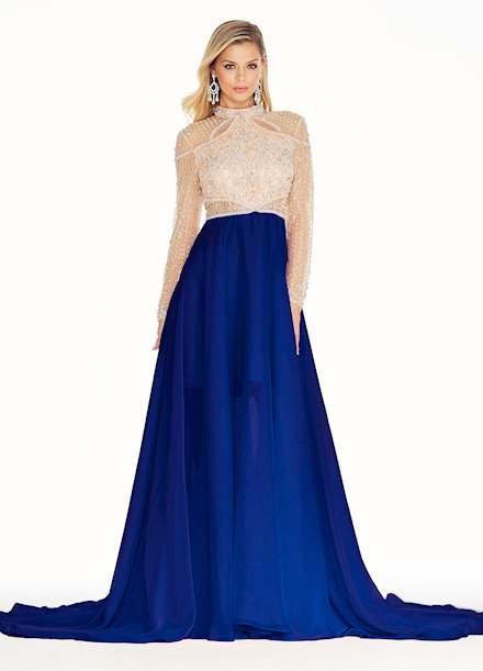 Ashley Lauren Beaded Chiffon Evening Dress