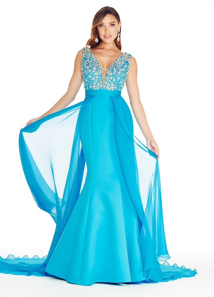 Ashley Lauren V-Neck Evening Dress with Overskirt Image