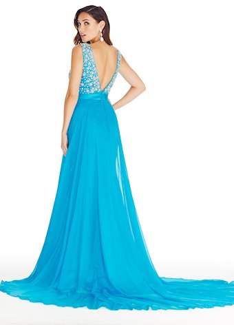 Ashley Lauren V-Neck Evening Dress with Overskirt