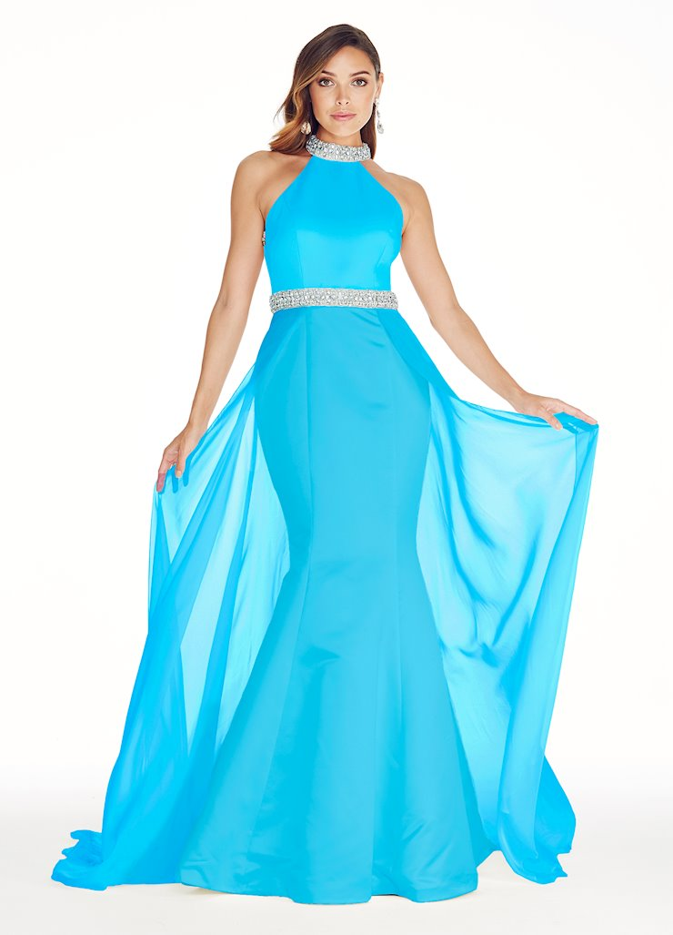 Ashley Lauren Halter Evening Dress with Overskirt