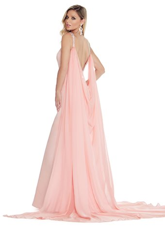 Ashley Lauren Mermaid Evening Dress with Cape