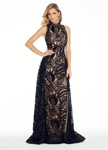 Ashley Lauren Embroidered Stretch Knit Evening Dress