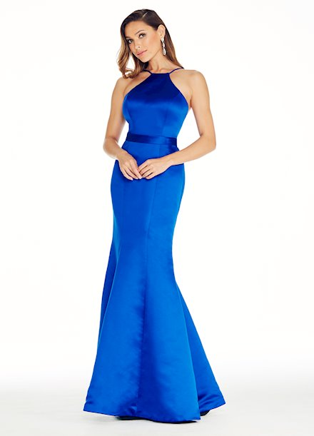 Ashley Lauren Halter Top Satin Evening Dress