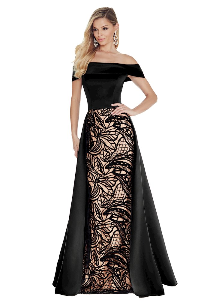 Ashley Lauren Off Shoulder Evening Dress with Overskirt Image