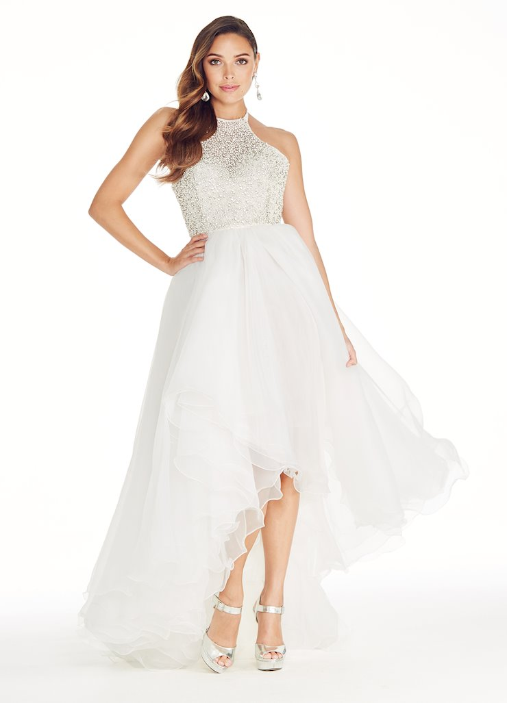 Ashley Lauren Beaded High Low Evening Dress Image