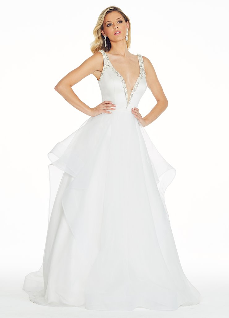 Ashley Lauren Beaded Silk Organza Evening Dress Image