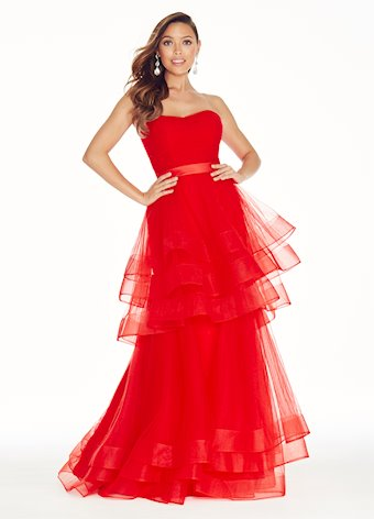 1293 Layered Tulle Evening Dress