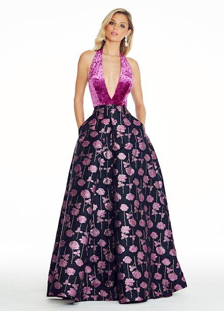 Ashley Lauren Crushed Velvet Rose Ball Gown