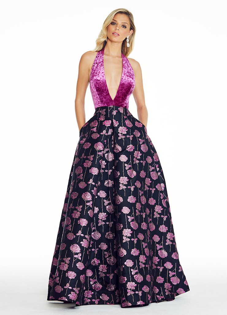 Ashley Lauren Crushed Velvet Rose Ball Gown Image