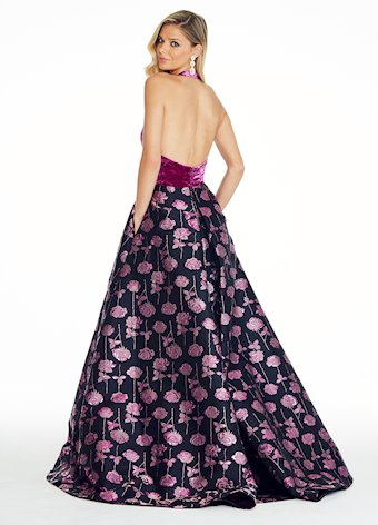 Ashley Lauren Crushed Velvet Rose Ball Gown
