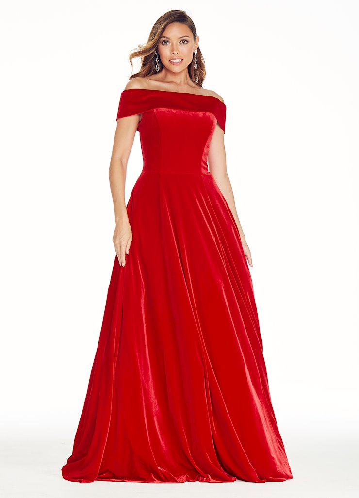 Ashley Lauren Off the Shoulder Velvet Ball Gown