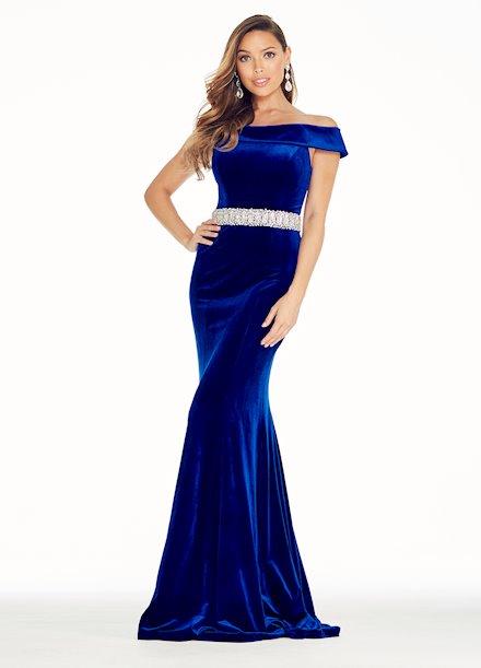 Ashley Lauren Off the Shoulder Velvet Evening Dress
