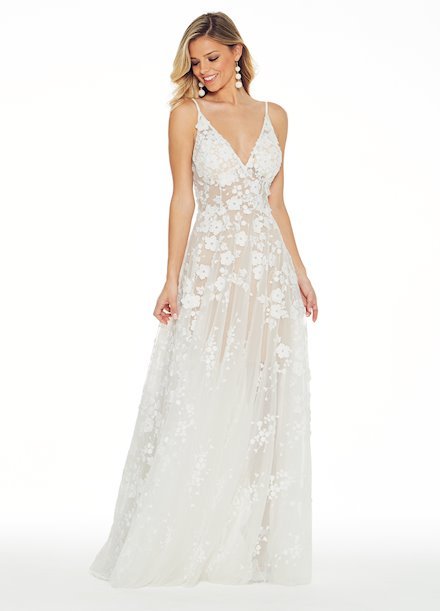 Ashley Lauren Embroidered Organza Evening Dress
