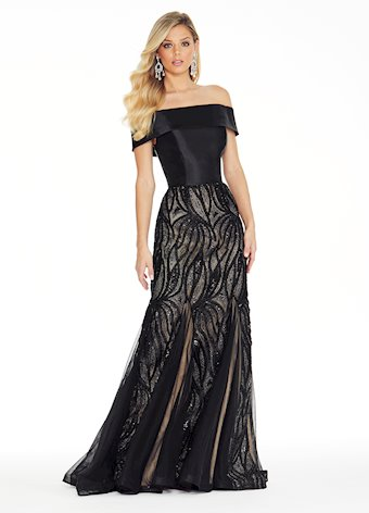 Ashley Lauren Off Shoulder Embroidered Tulle Evening Dress
