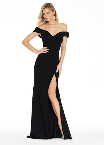 Ashley Lauren Off Shoulder Jersey Evening Dress