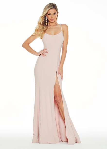 Ashley Lauren Spaghetti Strap Jersey Evening Dress