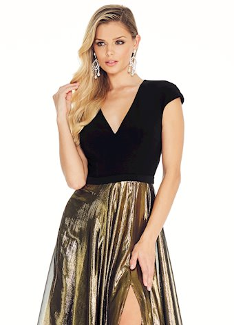 Ashley Lauren Metallic Gold Evening Dress