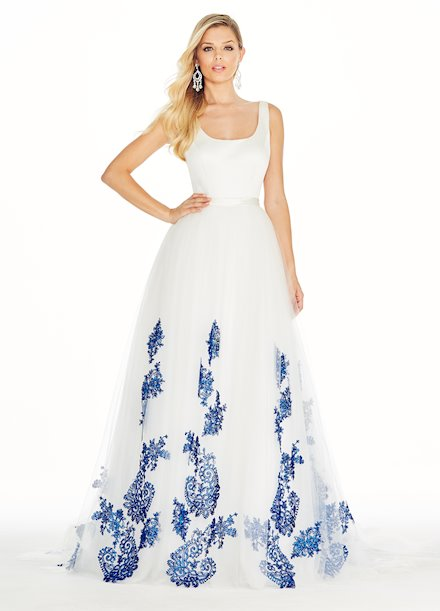 Ashley Lauren Tulle Ball Gown with Embroidered Lace Applique