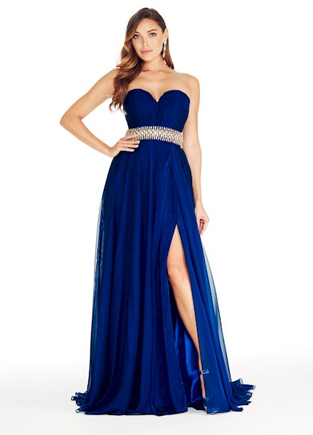 Ashley Lauren Pleated Chiffon Evening Dress