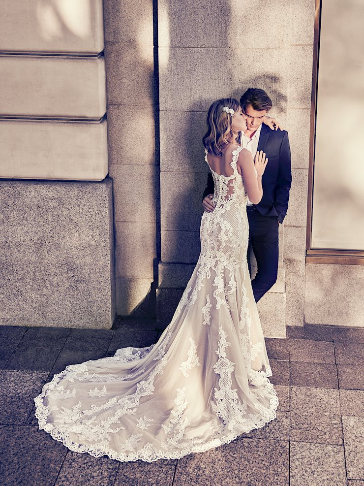 Maggie Sottero Style #Abbie Romantic Lace Fit and Flare Wedding Dress with Plunging Sweetheart Neckline  Image