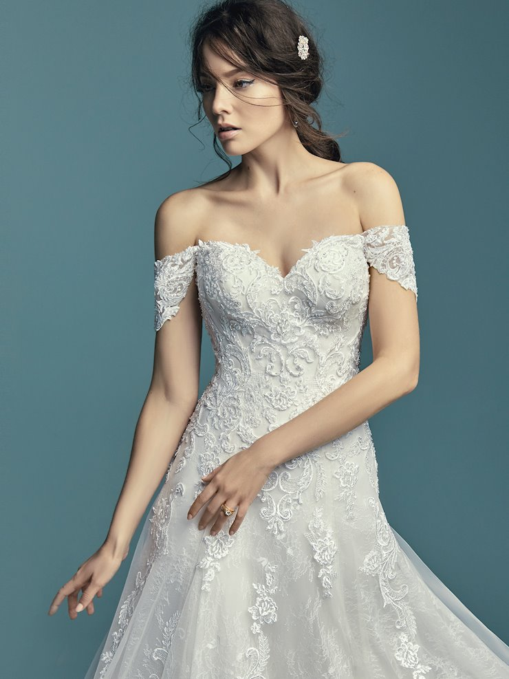 Maggie Sottero Style #Gail A-line Lace Wedding Dress with Corset Back with Beaded Appliques Image
