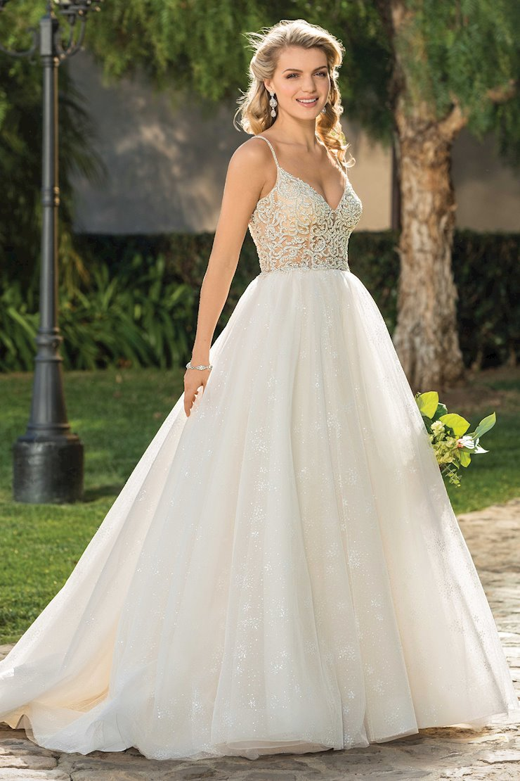 Casablanca Style #2335 This Strap V-Neck Ballgown Wedding Dress with Fully Beaded Top and Shimmer Tulle Image