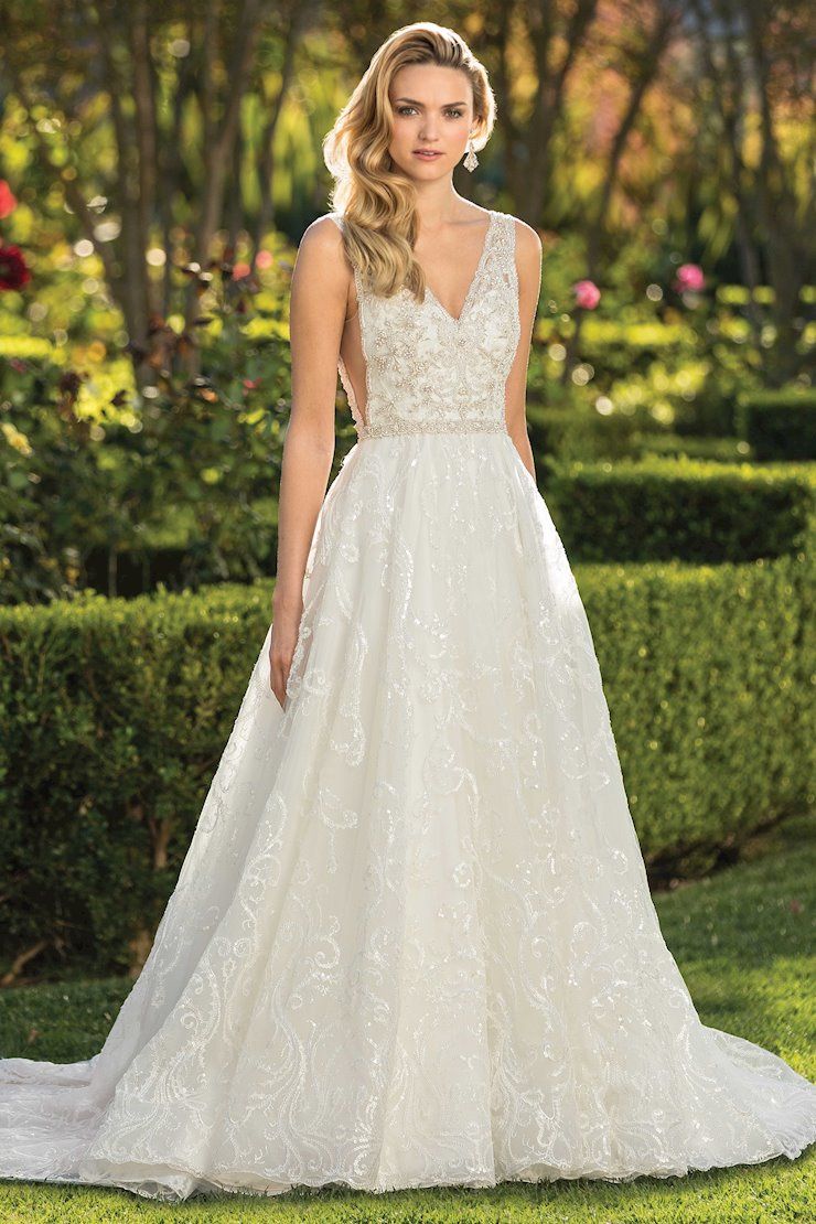 Casablanca Style #2338 A-line Wedding Dress with Heavily Beaded Bodice, Underarm Cutouts, Beaded Belt and Low V-Back Image
