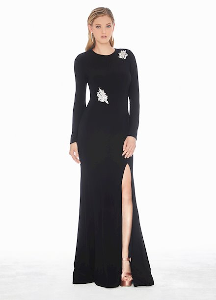 Ashley Lauren Crystal Accented Jersey Evening Dress