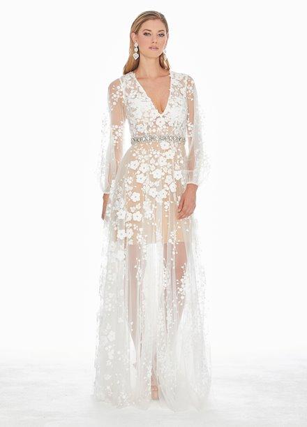 Ashley Lauren Puff Sleeve Evening Dress