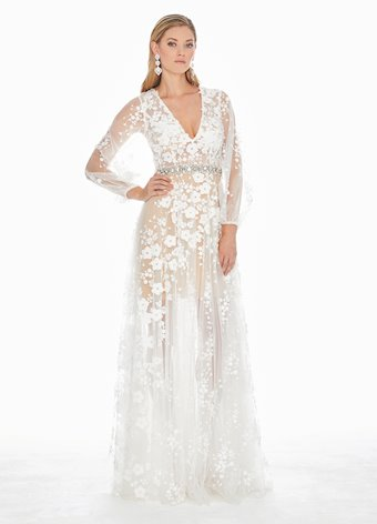 Ashley Lauren Puff Sleeve Evening Dress