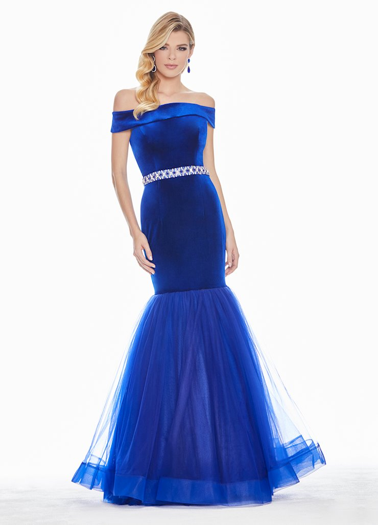 Ashley Lauren Velvet Fit & Flare Evening Dress Image