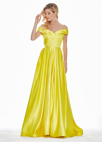 Ashley Lauren Wrap Off Shoulder Ball Gown