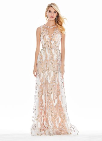 Ashley Lauren Embroidered Chiffon Evening Dress