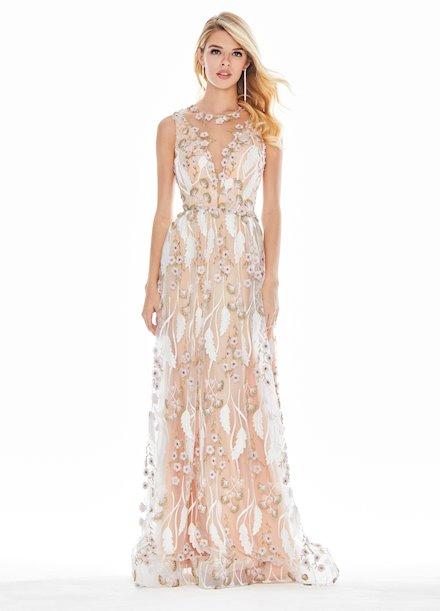 Ashley Lauren Embroidered Chiffon Evening Dress