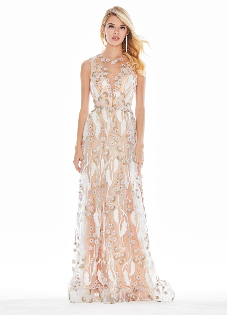 Ashley Lauren Embroidered Chiffon Evening Dress Image