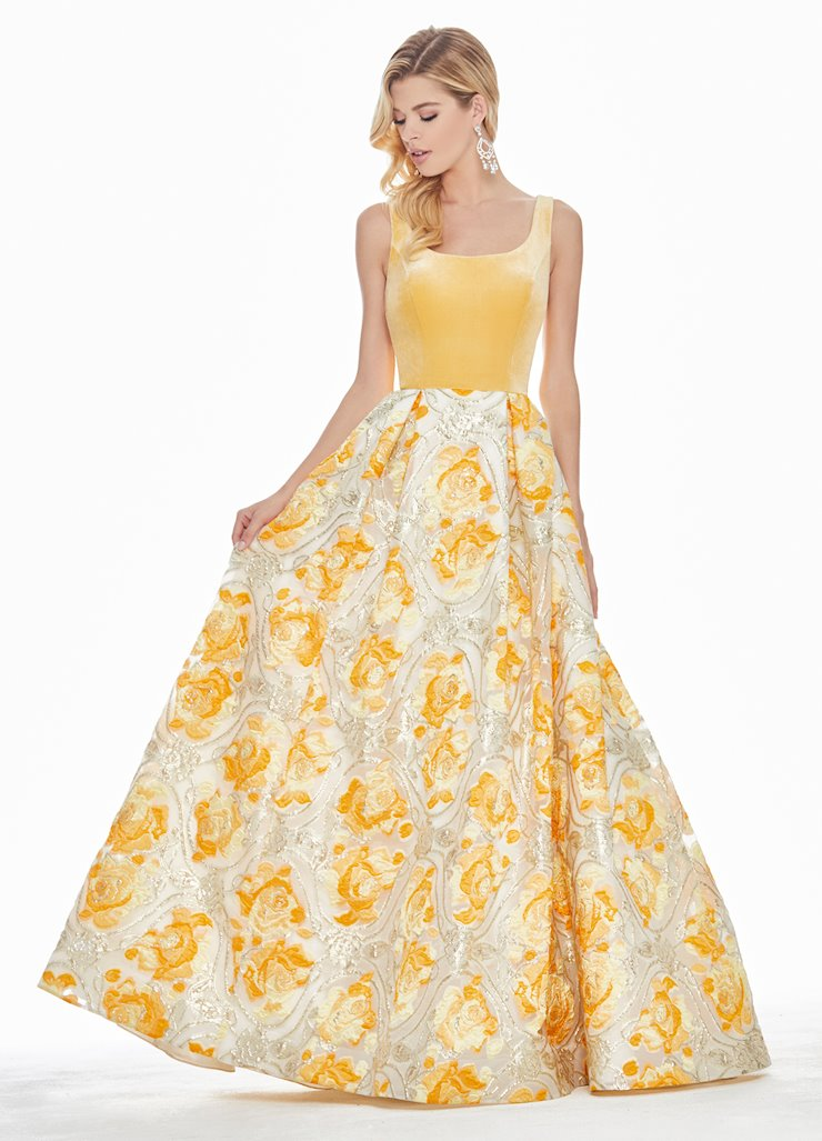 Ashley Lauren Metallic Baroque Ball Gown Image