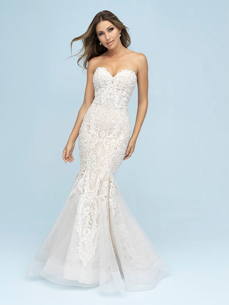 Allure Style #9601 -Strapless, Beaded, Mermaid Lace Wedding Dress with Horsehair trim  Image