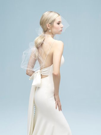 Allure Style #9306 Simple, Elegant Thin Strap Wedding Dress with Back Bow
