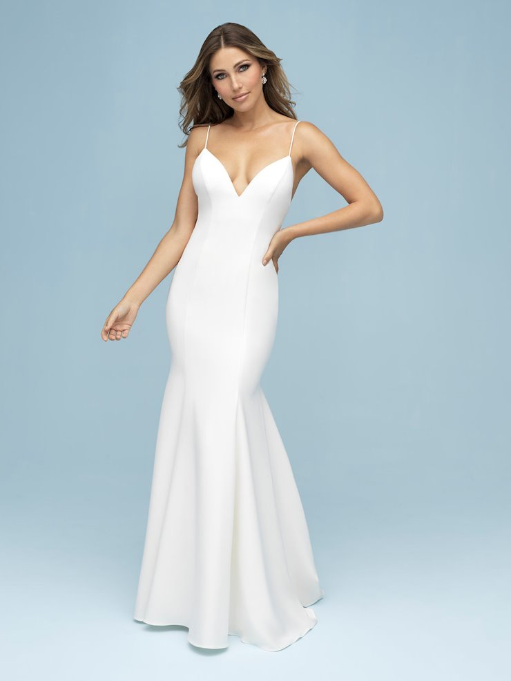 Allure Style #9306 Simple, Elegant Thin Strap Wedding Dress with Back Bow  Image