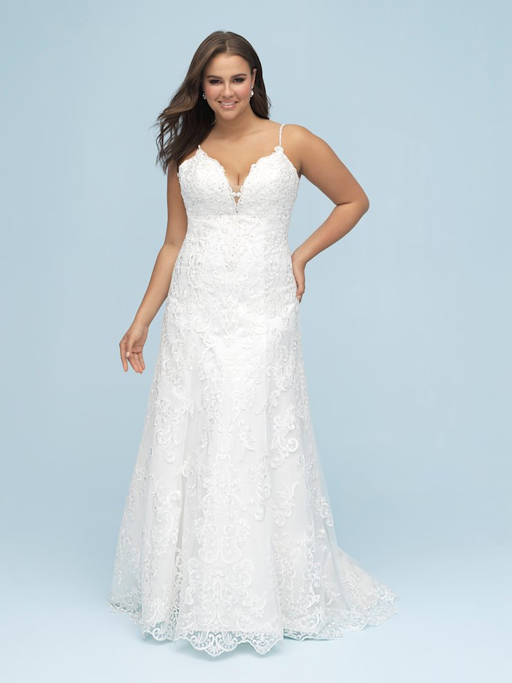 Allure Style #9605 Thin Strap Beaded All Over Lace A-line Wedding Dress with Beaded Straps  Image
