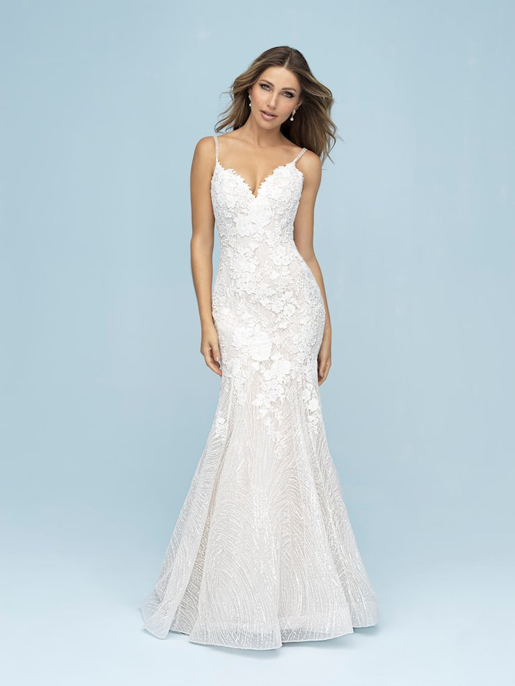 Allure Style #9613 V-neck Lace Fit and Flare Wedding Dress with Thin Straps  Image