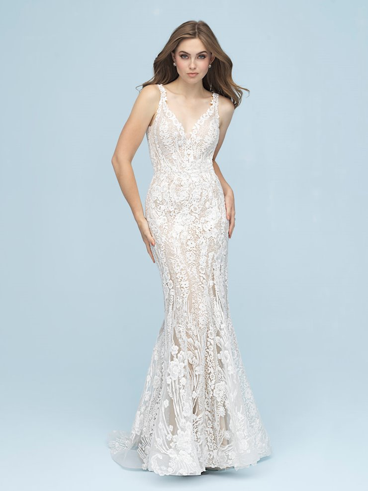 Allure Style #9618 Lacy, Sheath Wedding Dress with Deep V-Back  Image